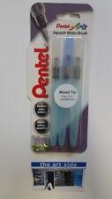 Pentel Aquash Water Brush Pack of 3 - FLAT, FINE & MEDIUM - FAST POSTAGE