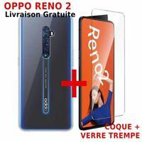 Verre Trempé Glasse Transparent + Cover Etui Coque Silicone Pour OPPO Reno 2