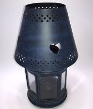 """Blue Antiqued Primitive Style Lantern Candle Holders 10""""H 6""""W"""