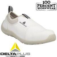 Nurses Medical Food Hygiene White Slip On Safety Shoes Trainers Steel Toe Cap S2