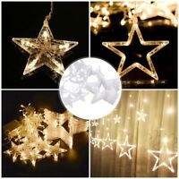 12pcs 138 LED Stars Christmas Hanging Curtain Lights String Net Home Party Decor