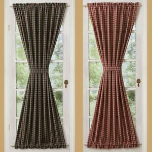 """Sturbridge Black or Wine and Tan 42"""" x 72"""" Lined Cotton French Door Panels by"""