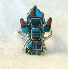 Vintage Zuni Native Sterling Silver Turquoise Rainbow Man Inlay Ring 2.69 Grams