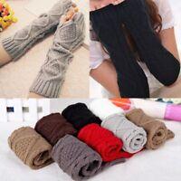 Womens Warmer Mitten Winter Long Knitted Wrist Arm Hand Fingerless Warm Gloves