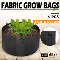6 Pack 100 Gallon Fabric Plant Grow Bags With Handles Durable Washable Garden