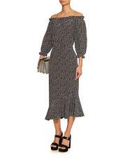 Saloni Navy Polka Dot Silk Grace Dress 2