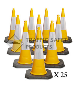Pack of 25 - ELITE Traffic Cones 1000 mm 2 piece YELLOW top