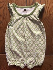 Tea Collection Green Short Romper Girls Flutter Sleeves Outfit Size 0-3 Months