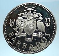 1973 BARBADOS Proof Arms Fountain Trafalgar Antique Silver 5 Dollars Coin i77465