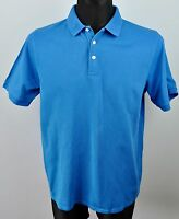 LYLE&SCOTT Golf Polo Shirt Large Men's Blue Henley Short Sleeved Top RRP €69 L
