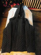 BURRY LANE JACKET HOODED LONG SLEEVE ZIP FRONT LIGHT WEIGHT BLACK WOMENS SZ MED
