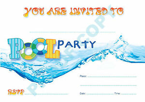 #19 POOL Pack of 10 swimming INVITATIONS kids children birthday party