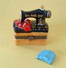 New  Handpainted Antique Sewing Machine & Shirt Crafter Porcelain Hinged Box MIB