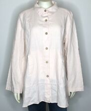 Simply Noelle Women's Pink Tunic Blouse Button Down Linen Blend Size L XL 12-14