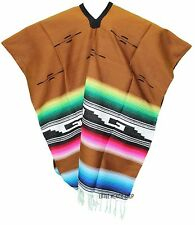 TRIBAL SERAPE Mexican PONCHO - TAN - ONE SIZE FITS ALL Blanket Gaban