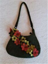 Filztasche Handgearbeitet Schultertasche mit Reißverschluss und Blumen