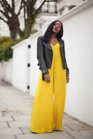 BNWT ZARA Yellow MUSTARD Silky FLOWY JUMPSUIT Blogger SOLD OUT XS UK 6 8