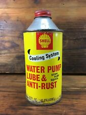 VINTAGE SHELL 12 FL OZ COOLING SYSTEM WATER PUMP LUBE TIN OIL CAN PETROL SIGN