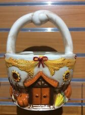 New- Delton Products Ceramic Fall/ Thanksgiving Basket 8� Tall