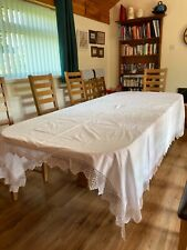 More details for beautiful very large collector's antique linen tablecloth with hardanger edging