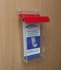 Flyerbox mit roten Deckel wetterfest,DIN LANG und 1/3A4, Prospektbox,Flyerhalter