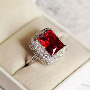Rhodium Solid 925 Sterling Silver 6ct Red Garnet Swarovski Stone Solitaire Ring