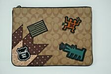 Coach Keith Haring Khaki Signature Canvas with Patches Large Pouch F66585