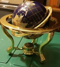 "Blue Lapis World Globe 10"" Tall Gemstone Inlay Brass-tone Frame & Tripod Compass"