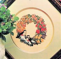 ✔️ Birds and Flowers Wreath Cross Stitch Design Chart Pattern