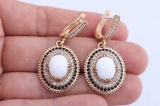 Ottoman Turkish Jewelry Oval White Onyx Black Topaz 925 Sterling Silver EarRings