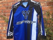Garçons Filles Enfants WULFSPORT Motocross Moto Haut Jersey Noir Bleu SOS Spirit