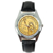 USA GOLD STATE OF LIBERTY DOLLAR COIN LEGEND NY BLACK LEATHER ROUND GIFT WATCH