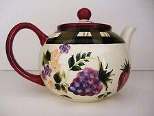 Oneida China Hand Painted Strawberry Plaid Teapot MINT