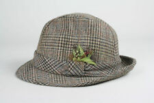 Vintage 60s Harvard Custom Wool TWEED 7-1/4 Houndstooth Fedora Hat Strap