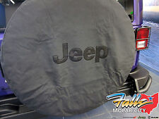 2007-2017 Jeep Wrangler Liberty Black Spare Tire Cover with Black Jeep Logo OEM