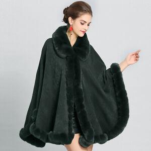 Europe Women Faux Rabbit Fur Cardigans Cape Coat Fur Lapel Warm Party Gown Cloak
