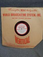 RADIO TRANSCRIPTION RECORD~Arthur Smith Quartet-Ray Bloch