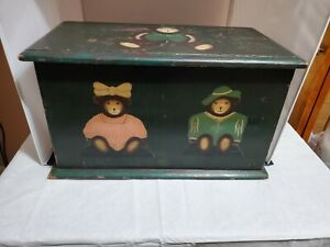 Antique Hand Painted Oak Toy Chest hand painted Bears on the front andone on top