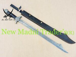 "38"" DAMASCUS CUSTOM HANDMADE HUNTER TIP WITH BLACK MICARTA SHEET HANDLE SWORD"