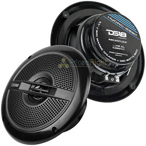 "1 Pair DS18 6.5"" 2-Way Coaxial Marine Speakers 380W Max All Elements Hydro65BK"
