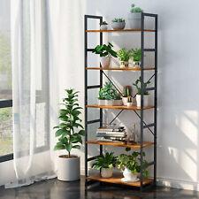 00006000 Metal Bookcase 5 Tier Storage Bookshelf Shelf Display Shelving Rack Furniture Us