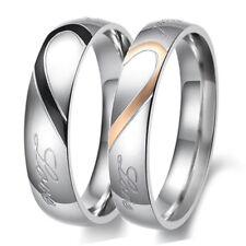 Custom Engraved Titanium Steel Wedding Ring Set Engagement Band