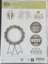 Blue Ribbon Stampin Up! Clear Mount used Birthday Grad Dad Congratulations