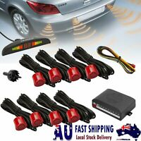 Universal Car Reversing Rear Reverse Parking 8 Sensor Kit Buzzer Alarm Red