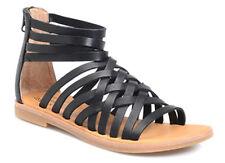 Kork-Ease Palmyra Gladiator Strappy Black Leather Sandals Size 7/38 Back Zip