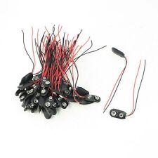 50 Pieces 2 Wire Terminals 9V Batteries Clip Connectors Black Red N3