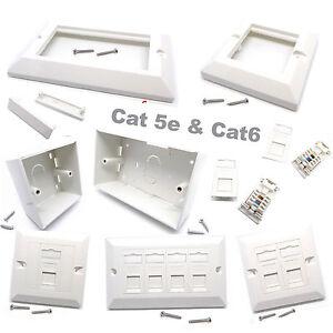 RJ45 Network Cat5e Cat6 1 - 2 Gang Face Plate Back Boxes Keystone Jack Wholesale