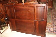 French Antique Tiger Oak Art Deco Full / Queen Size Double Panel Bed w. Rails