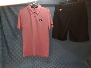 NWOT New NIKE Golf DRI-FIT MENS SMALL SHIRT & MENS 32 blk SHORTS GEORGIA outfit