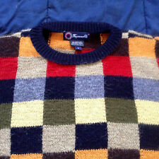 Faconnable Men's Colorful 100% Alpaca Wool Sweater Hand Made in Bolivia Size XL